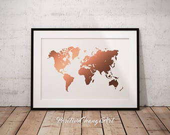 Rose gold world map etsy rose gold decor rose gold map rose gold world map rose gold print gumiabroncs Gallery