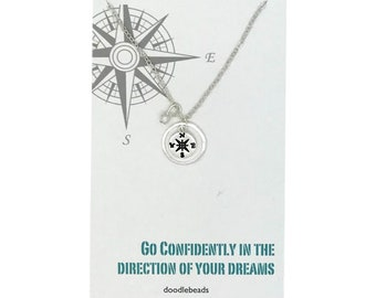 Compass necklace, gold or silver -graduation gift for her, graduate gift, college graduation, Go confidently in the direction of your dreams