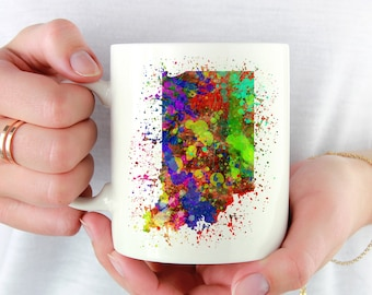 Indiana Pride Coffee Mug. Watercolor Splatter. Coffee Lover. Gift for IN Native. I love Indianapolis. Midwest Native. Home. Proud Indianan.
