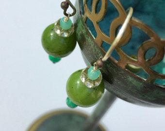 Olive Jade || Green Onyx || oxidized sterling silver handmade earrings || unique earthy elegant - ARTISAN JEWELRY