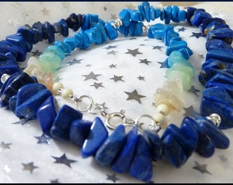 Lovin' the Blues Necklace -- Lapis, Turquoise and Moonstone 20 Inches of Stones and S
