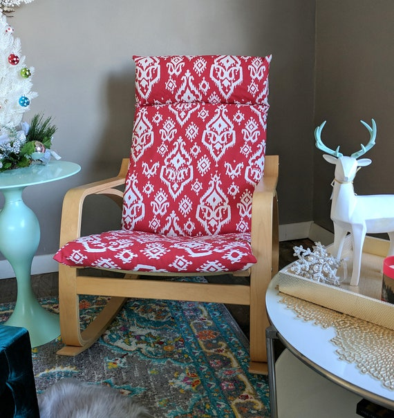 Red Indian Ikat Ikea Poang Chair Seat Cover