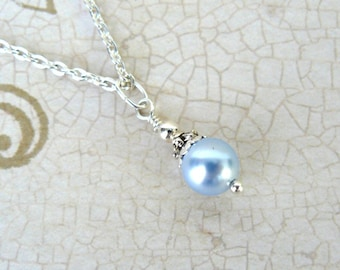 Light Blue Pearl Pendant, Pale Blue Bridesmaid Necklace, Vintage Style Blue Wedding Jewelry, Swarovski Elements Crystal Pearl Jewelry