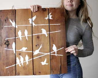 birds on a wire, original reclaimed wood art