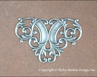 Antiqued Sterling Silver Plated Victorian Filigree Barrette, Pin or Pendant Component (item 1627 AS) - 6 Pieces