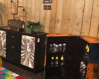 Vintage Oil Drum Home Bar Drinks Cabinet