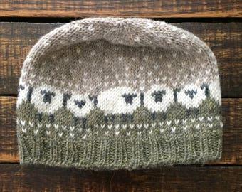 Sheepish Hat -- Alpaca Wool -- Green/White/Taupe -- Made to Order