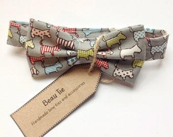 Baby boys bow tie, baby bow tie, grey bow tie, dog print bow tie, cotton bow tie
