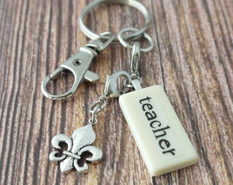 TEACHER Key Chain Personalized Customized Domino Key Chain Gift for Teacher Gift by Kristin VIctoria Designs