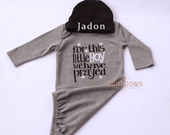 Newborn Baby Gown: Grey Infant Boy Gown, For This Little Boy I or We Have Prayed, New Baby Shower Gift, Personalized Cotton Beanie Hat