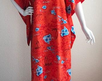 Vintage Hawaiian Muumuu Caftan Kaftan Maxi Dress Winged Sleeves