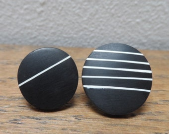 resin studs/ asymmetric studs/ mismatched studs/ black studs/ stripy studs/quirky earrings/ small studs unusual studs/ handmade gift/jewlery