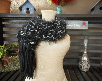 Hand Knit Scarf     Black and silver Scarf