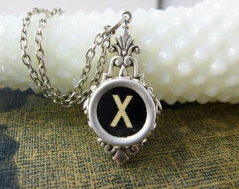 Typewriter Key Jewelry - Typewriter Necklace Letter X - Glass topped Key