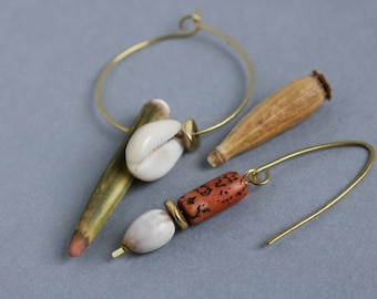 mismatched hammered brass earrings with sea urchin, cowrie shell and nuts - asymmetrical dangle earrings - ethnic boho tropical jewelry