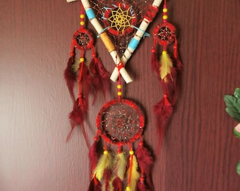 Medium size dream catcher, red with little touch of color