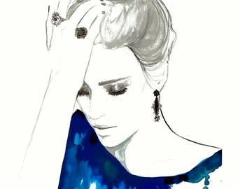 Into the Blue, print from original watercolor and mixed media fashion illustration by Jessica Durrant