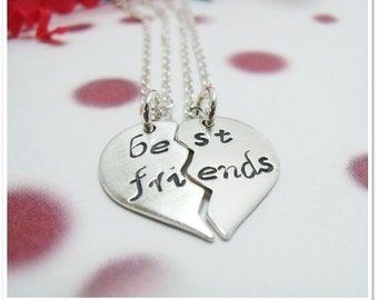 Personalized Best Friend Necklace - Sterling Silver Heart:Hand Stamped
