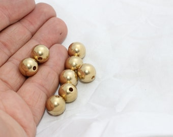 10 Pcs 11,5mm Raw Brass Beads, Solid Brass Beads, Round Beads, BDS12