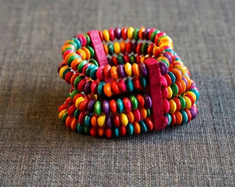 Bright Wooden Multi-Strand Bead Bracelet