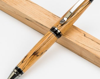 Wooden Cigar Twist Ballpoint Pen in Spalted Maple, Olive Wood, or Scarlet Marble Acrylic