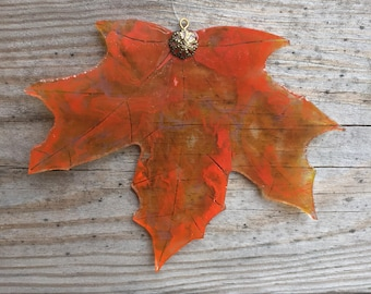 Autumn Leaf - Upcycled Stained Glass Maple Leaf Hanging Suncatcher