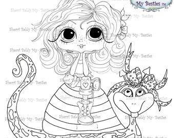 INSTANT DOWNLOAD Digi Stamps Big Eye Big hoofd poppen Digi Bestie Cutie Pie en Snailie door Sherri Baldy