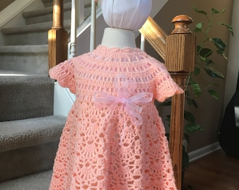 HANDMADE - Crochet Baby Girl Dress - Booties - Headband Set