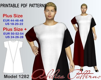Plus size Maxi color block Dress Sewing Pattern PDF, sizes 18-28, Loose fitting dress with geometric blocks, Maxi dress pattern PDF