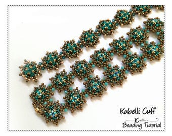 Right Angle Weave Embellished Interchangeable Cuff Beading Pattern Beading Tutorial DIY Seed Bead  Jewelry Beadweaving Pattern KUBELLI CUFF