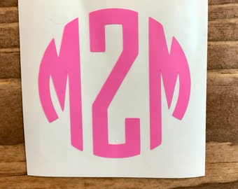 Monogram Decal, Vinyl Decal, Monogram car decal, Personalized decal, vinyl sticker, yeti decal, car decal, window decal, circle monogram dec