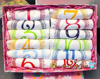 Girls 12 Months Complete Birth Onesies Bodysuit Month Anniversary Bright Color Baby Photo Props New Mom Gifts Milestone Baby Shower Gift Set