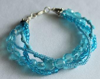 Aqua Blue Bracelet Aurelia Silver Bangle Aqua Bracelet