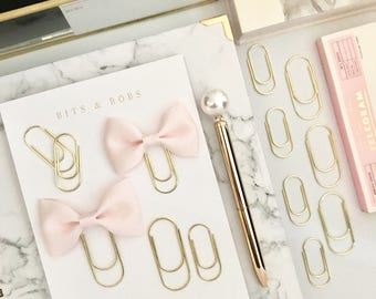 Mini Blush Pink Ribbon Bow on Mini Wide Gold Paperclip