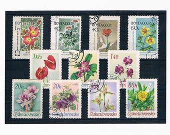 Vintage Flower Postage Stamps | 1960s flower stamps from Russia & Czechoslovakia | vintage floral stamps for collection, wedding card crafts