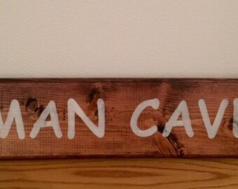 Man Cave, Red Mahogany Stained Sign