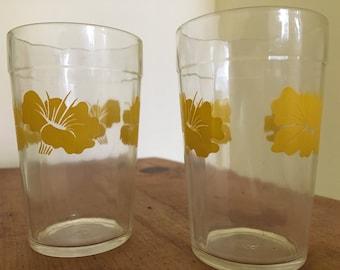 Yellow Hibiscus Jelly Jar Glasses: Set of 2