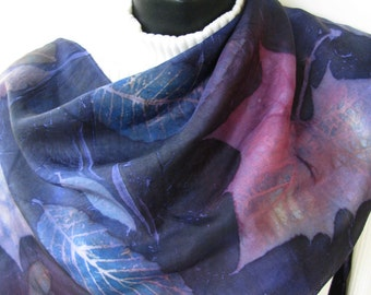 Unique Hand Dyed Silk Scarf for Women Midnight Blue Sycamore Leaves Nature Unique gift for her Autumn Scarf Fall Fashion Winter Scarf