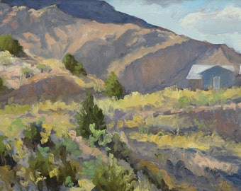 Afternoon Envelopes the Homestead - Dixon, New Mexico - Original Oil Plein Air Landscape Painting