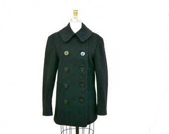 Vintage 1940s U.S. Navy Peacoat, Small Black Double Breasted Wool Jacket, Military Coat