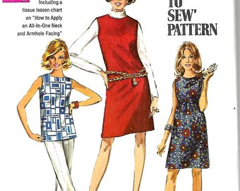 1960s Simplicity 8297 Misses Dress Or Overblouse And Jumper Pattern, Size 18, Bust 40,  UNCUT