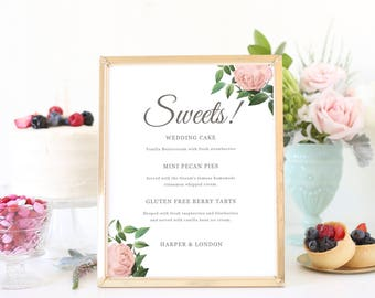 Dessert Table Sign, Sweets Table Sign, Please Take a Treat, Wedding Signs, Vintage Botanical | SUITE028