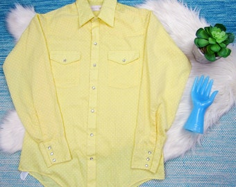 Vintage Jason Fantasia Yellow Polka Dot Western Shirt Medium Pearl Snap Long Sleeve Shirt Cowboy