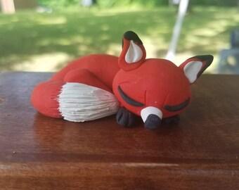 Polymer Clay Sleeping Fox Sculpture