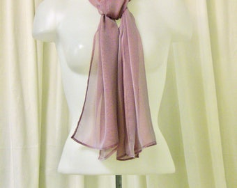 Sheer Scarf, Rectangular Scarf, Neck Tie, Head Scarf in Iridescent Rose Pink Chiffon w/ Tiny Machine Hem