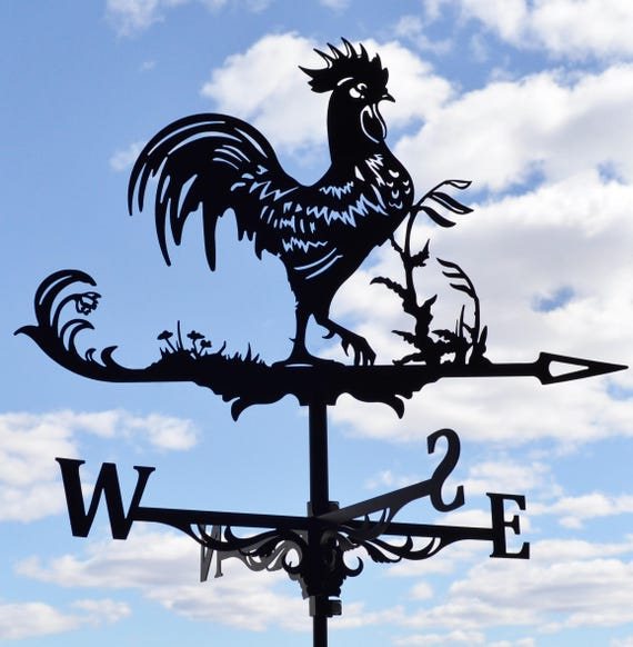rooster chicken metal weathervane roof mount wind decor. Black Bedroom Furniture Sets. Home Design Ideas