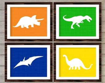 Dinosaurs Theme Wall Art Printable Instant Download -Set of 4 8x10 - Orange Green Blue Yellow Boys Kids Baby Boy Play Room Decor Print