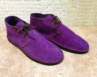Handcrafted Desert Boot in Purple Suede