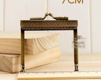 1 x rectangular clasp mini bag 7cm metal bronze