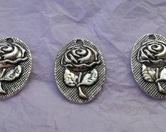 3 Rose Plaque Charms - for Jewellery Making and Crafts - 3 x Tibetan Silver Rose Plaque Charms